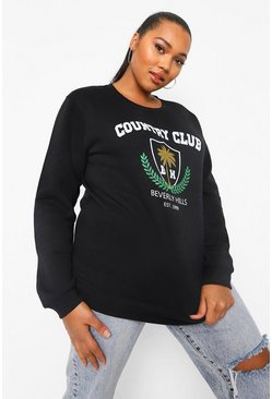 Black Plus Country Club Varsity Sweater Met Tekst