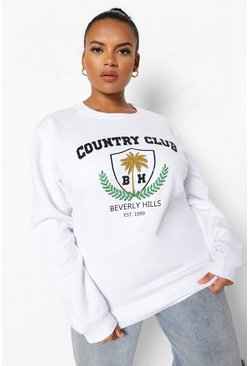 White Plus Country Club Varsity Sweater Met Tekst