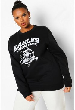 Black Plus Eagles Varsity Sweater Met Tekst