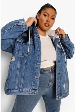 Mid blue blue Plus Loopback Hooded Denim Distressed Jacket