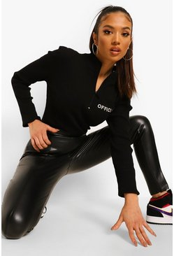 Black Petite Premium Sculpting Leather Look Trousers