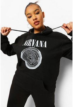 Black Plus Nirvana Logo License Oversized Hoodie