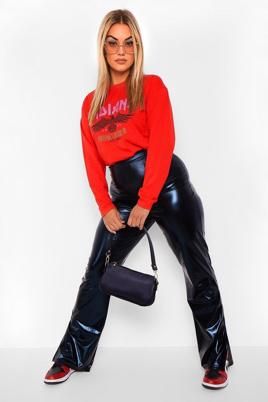 Plus Leather Look Split Hem Trouser 11