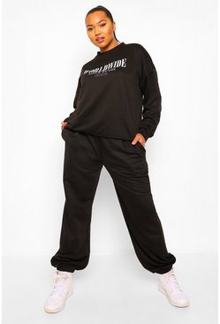 Black Plus Worldwide Slogan Oversized Tracksuit