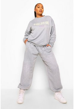 Grey Plus Worldwide Slogan Oversized Tracksuit