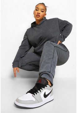 Charcoal grey Plus Acid Wash Tracksuit