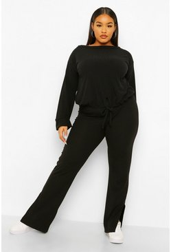 Black Plus Soft Rib Split Hem Trousers