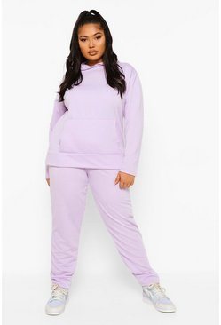 Lilac purple Plus Hoody And Jogger Set