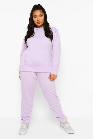 Lilac purple Purple Plus Hoody And Jogger Set
