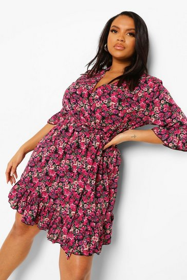 Black Plus Ditsy Floral Wrap Belted Dress