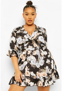Black Plus Satin Floral Wrap Belted Dress