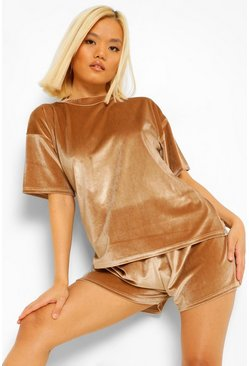 Champagne beige Petite Velour T-shirt And Pj Short Set