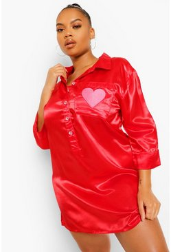 Red Plus Heart Embroidered Satin Nightshirt