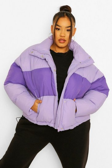 Lilac purple Plus Toggle Colour Block Puffer Coat