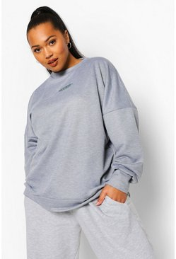 Grey Plus Oversized Geborduurde Sweater