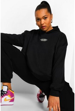 Black Plus Embroidered Oversized Hoodie