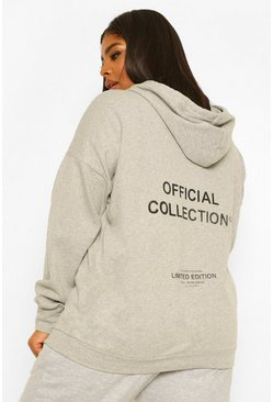 Grey marl grey Plus Official Printed Oversized Hoody