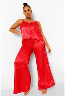 Red Plus Heart Button Cami & Trouser Set