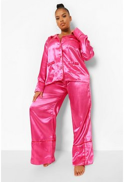 Pink Plus Heart Button Satin Pyjamas