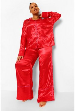 Red Plus Heart Button Satin Pyjamas