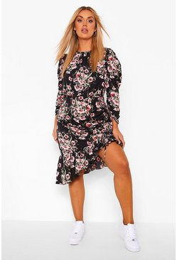 Black Plus Floral Ruffle Midi Dress