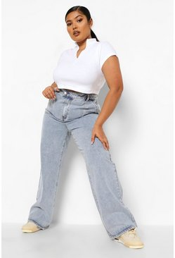 Plus Vintage Wash Pocket Wide Leg Jean
