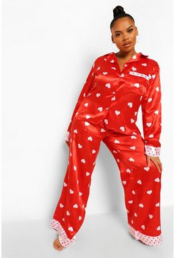 Red Plus Heart Satin Pyjamas