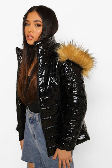 Black Petite High Shine Faux Fur Trim Hooded Coat