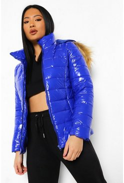 Cobalt blue Petite High Shine Faux Fur Trim Hooded Coat