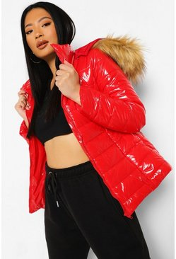 Red Petite High Shine Faux Fur Trim Hooded Coat