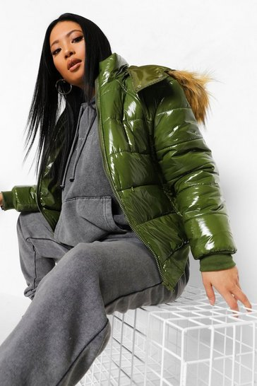 Khaki Petite Faux Fur Hooded Oversized Puffer Jacket