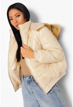 Sand beige Petite Faux Fur Hooded Oversized Puffer Jacket