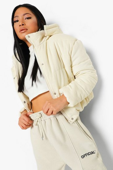 Ivory white Petite Cord High Neck Puffer Jacket