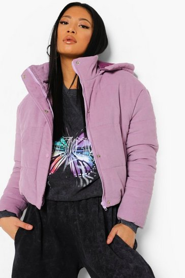 Lilac purple Petite Cord High Neck Puffer Jacket