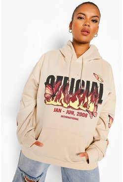 Stone Plus Oversize Flame And Butterfly Print Hoody