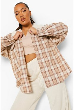 Taupe beige Plus Borg Collar Flannel Overshirt