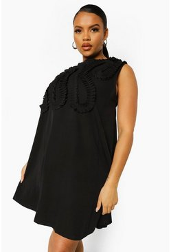 Black Plus Occasion Ruffle Shift Dress