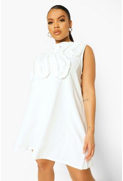Ivory white Plus Occasion Ruffle Shift Dress
