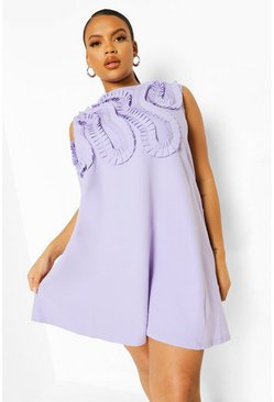 Lilac purple Plus Occasion Ruffle Shift Dress