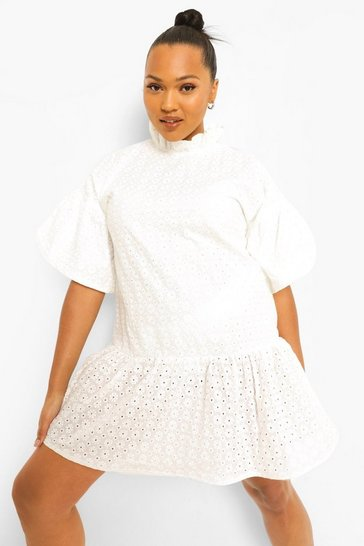 White Plus Broderie Ruffle Smock Dress