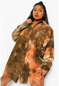 Khaki Plus Tie Dye Cord Oversized Shirt Dress