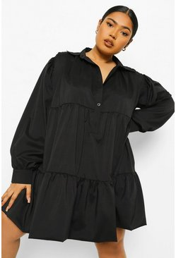 Black Plus Extreme Oversize Tiered Shirt Dress