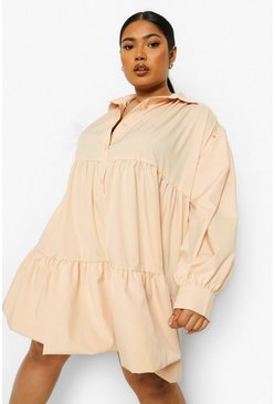 Stone beige Plus Extreme Oversize Tiered Shirt Dress
