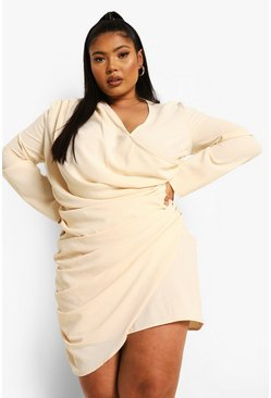 Cream white Plus Drape Wrap Dress