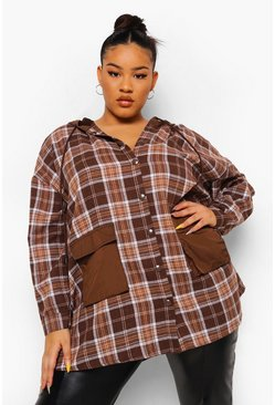 Chocolate brown Plus Check Hoodie Overshirt