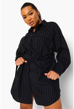 Black Plus Pinstripe Pocket Front Shirt Dress