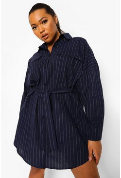 Navy Plus Pinstripe Pocket Front Shirt Dress