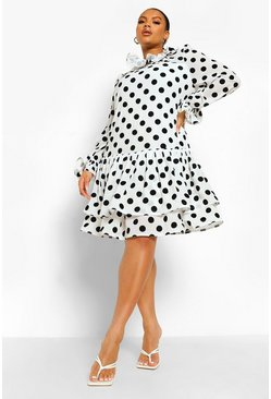 Cream white Plus Polka Dot Ruffle Smock Dress