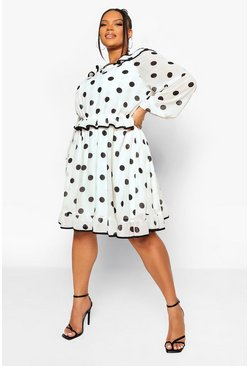 Cream white Plus Ruffle Polka Dot Skater Dress