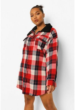 Red Plus Borg Collar Check Shirt Dress